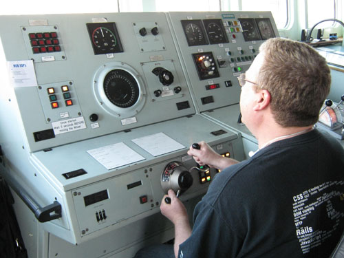 Dale at Te Kaha Wheel - Would you let him drive your ship?