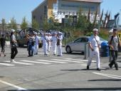 Sailors heading for Lonsdale Quay after the formalities